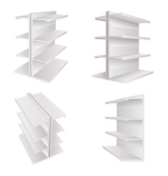empty store 3d white trade shelves for goods space vector image