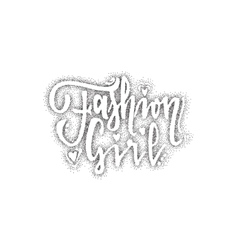 Fashion girl Pointillism - Calligraphic patch vector image