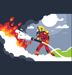flat fire fighting man puts out fire vector image