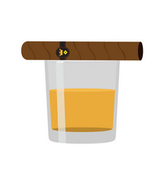 glass of whiskey with cigar premium alcohol vector image