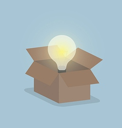 Glowing light bulb float over opened box Thinking vector