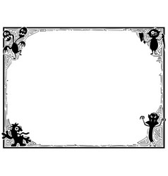 halloween frame with monster silhouettes vector image