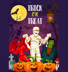 halloween trick or treat banner of autumn holiday vector image
