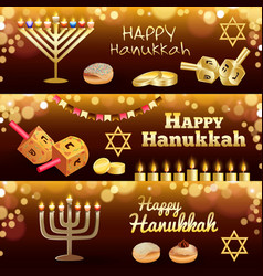 hanukkah banner set realistic style vector image