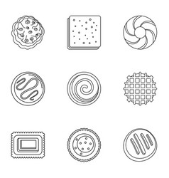 hardtack icons set outline style vector image