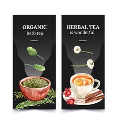 Herbal tea flyer design with basil rosemary vector