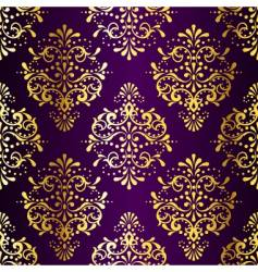 intricate gold-on-purple seamless sari vector image vector image