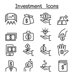 Investment icon set in thin line style vector