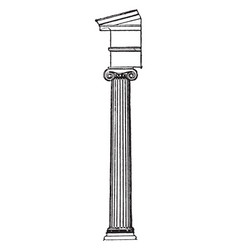 Ionic greek column corinthian vintage engraving vector