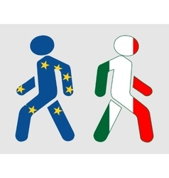 Italy and European Union relationships vector