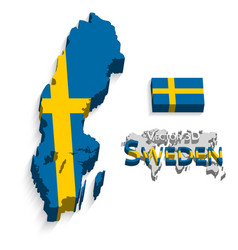 Kingdom of sweden 3d flag and map vector
