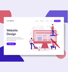 Landing page template of website design concept vector