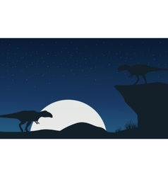 Landscape of mapusaurus dinosaur silhouettes vector image