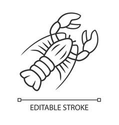 Lobster linear icon seafood restaurant menu vector