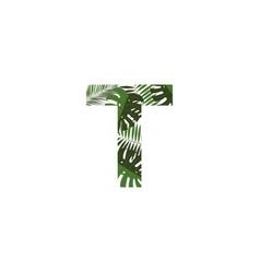 logo letter t tropical leaves vector image