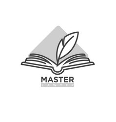 Master lawyer company logotype open book with vector