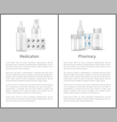 Medication and pharmacy posters medicament items vector