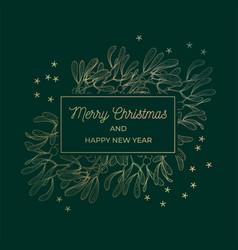 Mistletoe greeting card gold frame vector