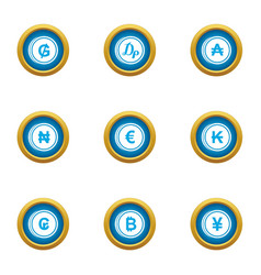 Money collapse icons set flat style vector