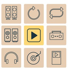 music icons set with musical device dj disc vector image