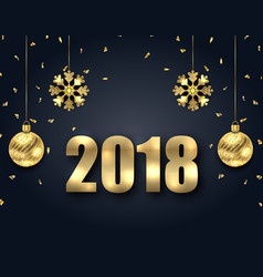 new year dark background with golden baubles vector image