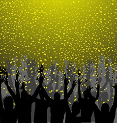 Nightclub party with hands in air and golden vector