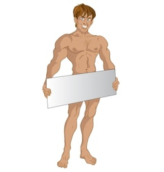 Nude blond boy with text area vector