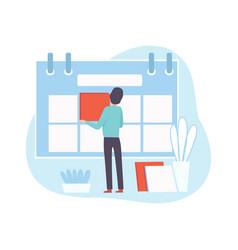 Office worker make schedule businessman planning vector