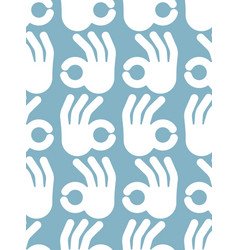 okay hand sign seamless pattern positive consent vector image