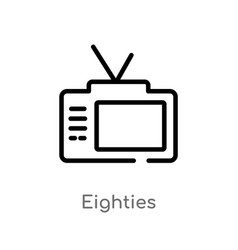 Outline eighties icon isolated black simple line vector