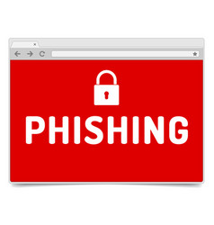 Phishing alert on opened internet browser window vector