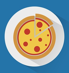 Pizza on the plate colorful icon vector