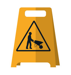 Plastic caution emblem and laborer vector