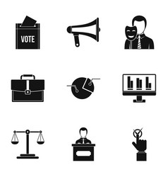 Policy icons set simple style vector