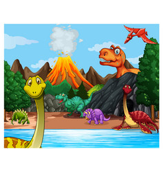 Prehistoric forest scene with various dinosaurs vector