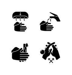 Proper handwashing black glyph icons set on white vector