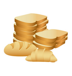 realistic picture stack slices bread and croissant vector image