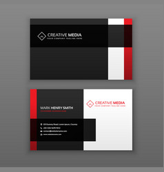 Red and black professional business card design vector