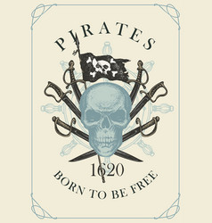 retro banner with pirate skull sabers and flag vector image
