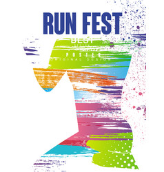 Run fest poster original gesign colorful poster vector