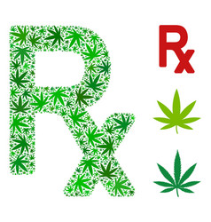 Rx symbol mosaic of hemp leaves vector