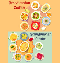 Scandinavian cuisine dinner dishes icon set vector