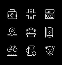 set line icons public navigation vector image