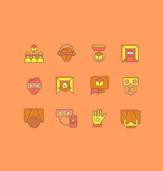 Set simple line icons virtual reality vector