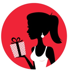 Silhouette of beautiful woman holding present vector image