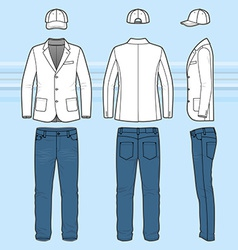 Simple outline drawing of a blazer jeans and cap vector