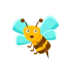 Smiling Bee Mid Air With Sting Natural Honey vector