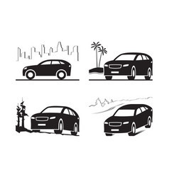 sport utility vehicle in different landscapes vector image