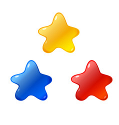 stars icon blue red yellow star icons vector image