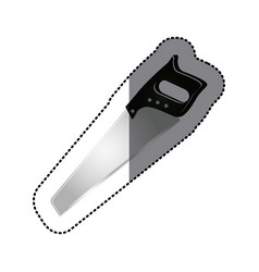 Sticker grayscale silhouette color of handsaw tool vector